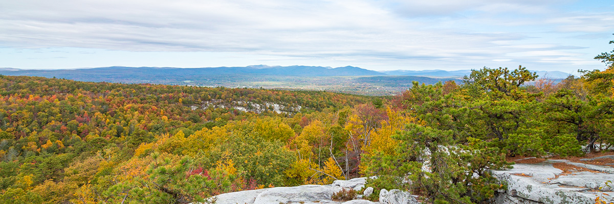 A photo of the Catskill Mountains from atop Compass Rock at Minnewaska State Park Preserve.
